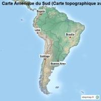 Carte Amerique Latine Avec Fleuves.Carte Amerique Du Sud Carte Topographique Avec Fleuves Carte