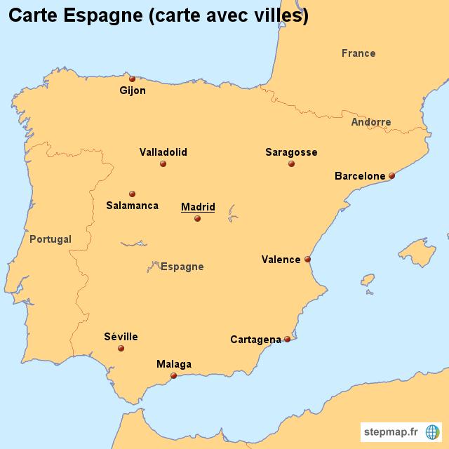 carte espagne avec ville