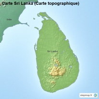 Carte Sri Lanka (Carte topographique)