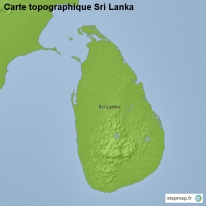 Carte topographique Sri Lanka